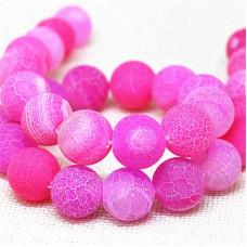 Бусины каменные агат кракле розовые 10 мм