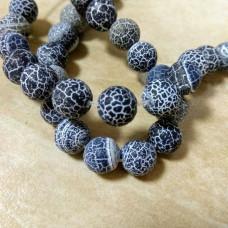 Бусины каменные агат кракле черные 10 мм