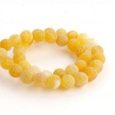 Бусины каменные агат кракле желтые 10 мм