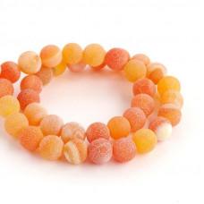 Бусины каменные агат кракле оранжевые 10 мм