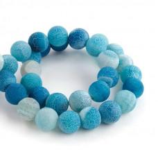 Бусины каменные агат кракле голубые 10 мм