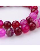 Бусины каменные агат полосатые розовые. 10 мм