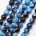 Бусины каменные агат граненые черно-голубые 10 мм