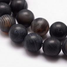 Бусины каменные агат полосатые матовые черные 10 мм