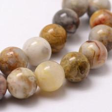 Бусины каменные агат серо-кремовые 10 мм