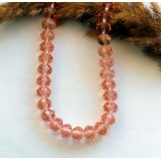 Бусины стеклянные розовые. 8*6 мм