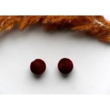 Бусина бархатная коричневая. 12 мм