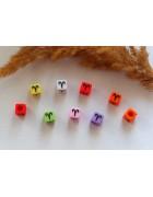 Бусины квадратные цветные со знаками зодиака. Овен