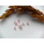 Бусины пластиковые биконус микс прозрачные/розовые 6 мм. 10 шт