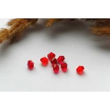 Бусины пластиковые биконус красные 6 мм. 10 шт