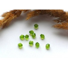 Бусины пластиковые биконус насыщенно-зеленые 6 мм. 10 шт