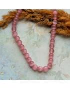 Бусины каменные кошачий глаз темно-розовые. 8 мм