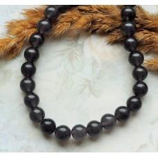 Бусины каменные нефрит (жадеит) темно-серые полупрозрачные. 8 мм