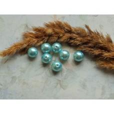 Бусины пластиковые под жемчуг светло-голубые. 10 мм