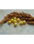 Бусины пластиковые под жемчуг желтые. 10 мм