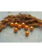 Бусины пластиковые под жемчуг оранжево-золотистые. 10 мм
