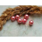 Бусины пластиковые под жемчуг темно-розовые 10 мм