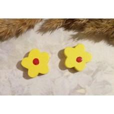 Бусина деревянная Цветок желтая 15 мм