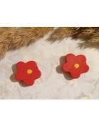 Бусина деревянная Цветок красная 15 мм