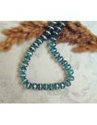 Бусины стеклянные голубые с серебряной каймой. 8*6 мм