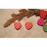 Бусина деревянная сердечко красное 17 мм