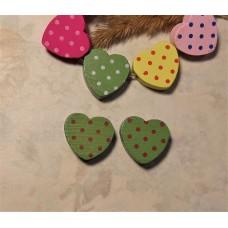Бусина деревянная сердечко зеленое 17 мм