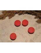 Бусина деревянная плоская Шайба красная 12*6 мм