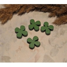 Бусина деревянная Лист клевера зеленая 13*4 мм
