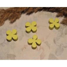 Бусина деревянная Лист клевера желтая 13*4 мм