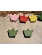 Бусина деревянная Корона зеленая 16*14 мм