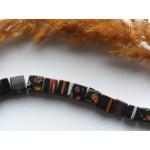 Стеклянные бусины миллефиори черные квадратные 8 мм