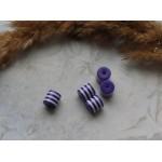 Бусины пластиковые цилиндры бело-фиолетовые 8 мм