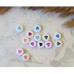 Бусины пластиковые с сердечками 7 мм. Разноцветный микс 10 шт