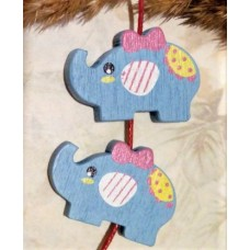 Бусина деревянная Слон голубая 30*21 мм