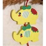 Бусина деревянная Слон желтая 30*21 мм