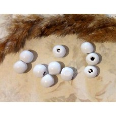 Бусина деревянная круглая матовая белая 10 мм