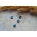 Стеклянные бусины миллефиори круглые голубые. 8 мм