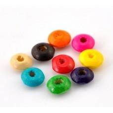 Бусины деревянные плоские разноцветные 8*4 мм. 10 шт