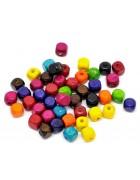 Бусины деревянные кубики разноцветные. 10 шт.