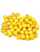Бусина деревянная круглая глянцевая желтая 10*9 мм