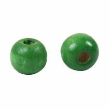 Бусина деревянная круглая глянцевая зеленая 10*9 мм
