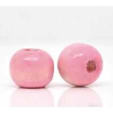 Бусина деревянная круглая глянцевая розовая 10*9 мм