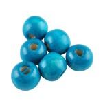 Бусина деревянная круглая глянцевая насыщенно-голубая 10*9 мм
