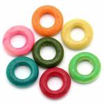 Кольца деревянные разноцветные 15мм. 10 шт