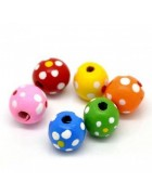 Бусины деревянные круглые в крапинку разноцветные . 10 шт