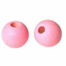 Бусина деревянная круглая матовая розовая 10 мм