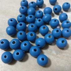 Бусина деревянная круглая матовая синяя 10 мм