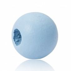 Бусина деревянная круглая матовая голубая 10 мм