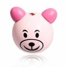 Бусина деревянная круглая Мишка розовый 28*24 мм