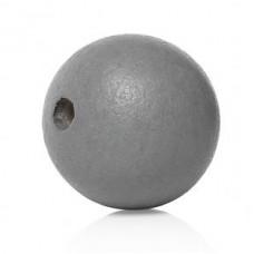 Бусина деревянная круглая матовая серая 10 мм